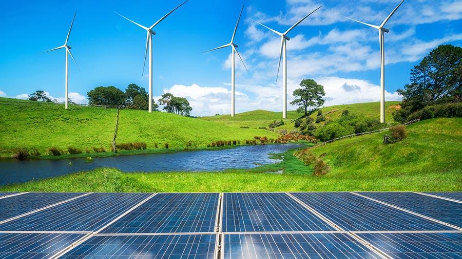 Eoliennes et panneaux solaires